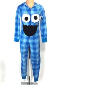 COOKIE MONSTER One Piece Hooded Fleece Pajamas